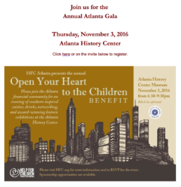 HFC Help For Children Atlanta Gala- November 3, 2016