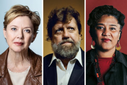 From left, Annette Bening, Oskar Eustis and Lynn Nottage, who will be on the advisory board selecting grant recipients for Audible.